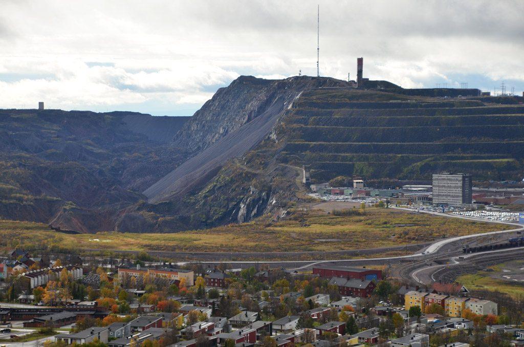 Blick auf den Kiirunavaara und die Grube