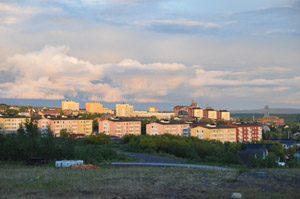 Nächtliche Sonne in Kiruna.