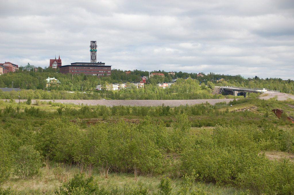 Niemandsland mit dem alten Gruvvägen und Brücke, Juni 2014