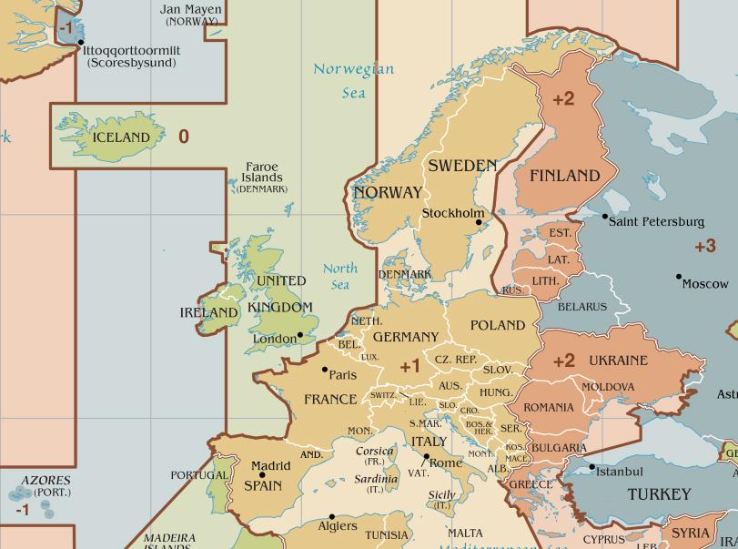 Zeitzonen Europas