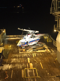 Helikopterwrack an Bord der Maersk Forza.