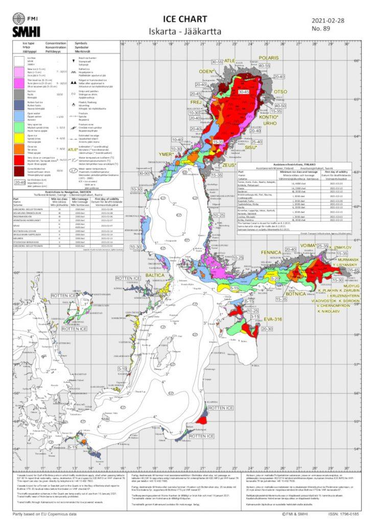 Eiskarte Ostsee 28. Februar